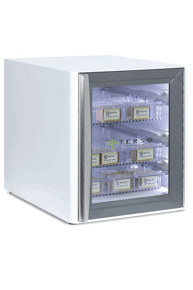 Countertop RFID Cabinet- side view with inventory