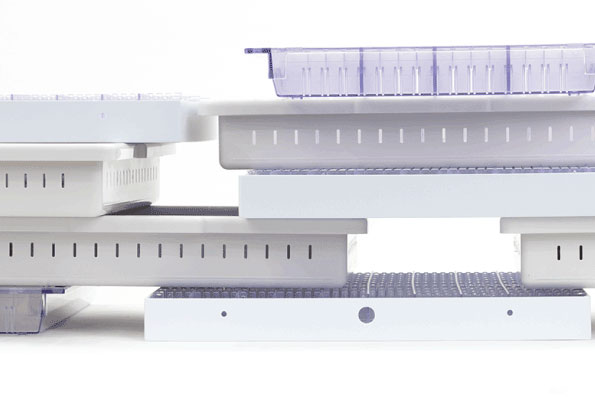 Stacked trays for RFID inventory management solutions in healthcare and life science