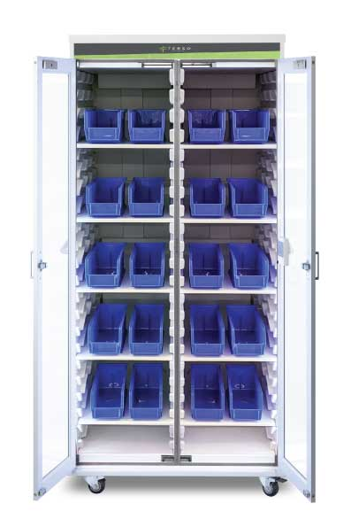The Kanban Security Cabinet allows you to securely organize PPEs and track them using the RFID Surface Read Point