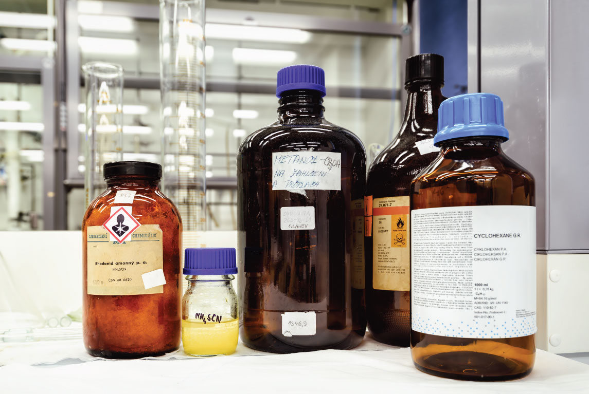 Chemicals in a laboratory